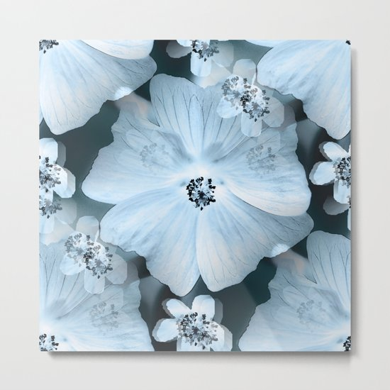 Flower-power - pastel blue flowers on a dark blue background Metal Print