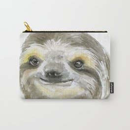 Sloth Face Watercolor Painting Animal Art Carry-All Pouch