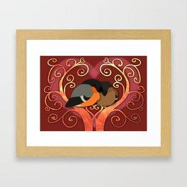 Valentine Bullfinches Framed Art Print