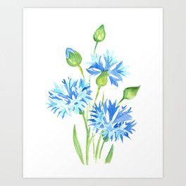 blue flower watercolor painting Art Print