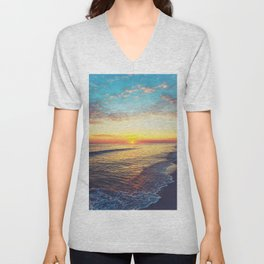 Summer Sunset Ocean Beach - Nature Photography Unisex V-Neck
