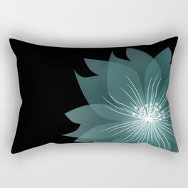 Blue flower on a black background . Rectangular Pillow