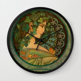 "Alphonse Mucha ""Ivy"" Wall Clock"