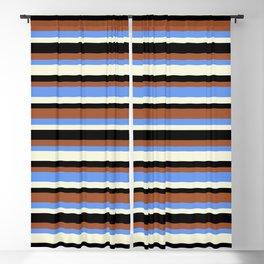 Sienna, Cornflower Blue, Beige & Black Striped/Lined Pattern Blackout Curtain
