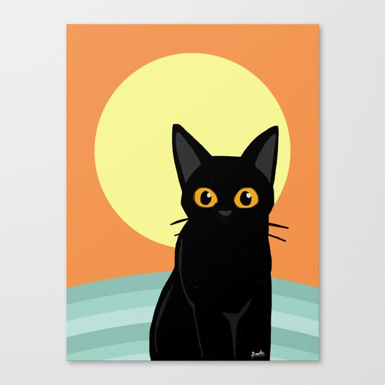 Sunset and cat Canvas Print