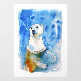 Polar Bear Inside Water Art Print