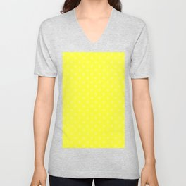 Cream Yellow on Electric Yellow Snowflakes Unisex V-Neck