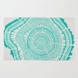 Turquoise Tree Rings Rug