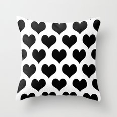 White Black Heart Minimalist Throw Pillow