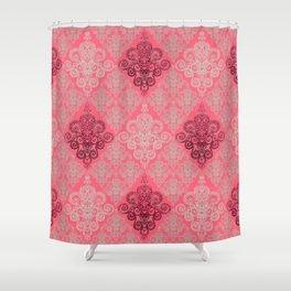 red&grey Baroque Pattern on gentle raspberry Shower Curtain