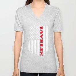 Patriotic Javelin Player - Flag Unisex V-Neck