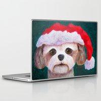 shih tzu Laptop & iPad Skins featuring Christmas Shih Tzu By Annie Zeno by Annie Zeno