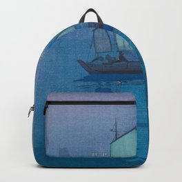 Sailing Boats, Night (Hansen, Yoru) Hiroshi Yoshida Vintage Japanese Woodblock Print Backpack