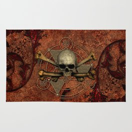 Awesome skull with bones Rug