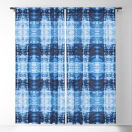 Indigo Plaid Shibori Blackout Curtain