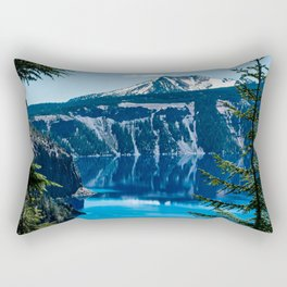 Crater Lake // Incredible National Park Views of the Dark Blue Waters Sky and Mountains through the Rectangular Pillow