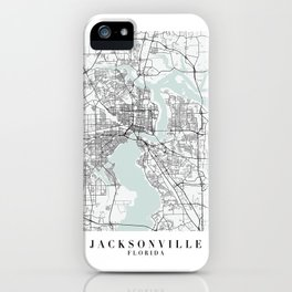 Jacksonville Florida Blue Water Street Map iPhone Case