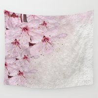 sakura Wall Tapestries featuring Sakura Blossoms 01 by Aloke Design