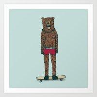 skateboard Art Prints featuring Bear + Skateboard by Lara Trimming