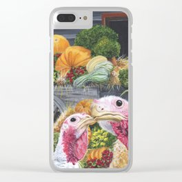Fall Turkeys Clear iPhone Case