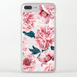 Pattern pink vintage peonies Clear iPhone Case
