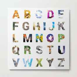 Nature Alphabet Metal Print