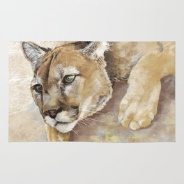 Captivated Mountain Lion Rug
