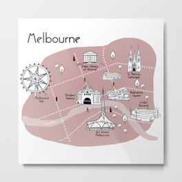 Mapping Melbourne - Pink Metal Print