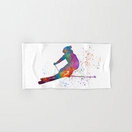 Olympic ski in watercolor 01 Hand & Bath Towel