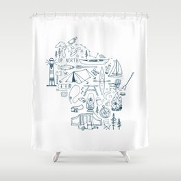 Wisconsin Up North Collage Shower Curtain