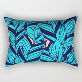 Blue Banana Leaf Pattern Rectangular Pillow