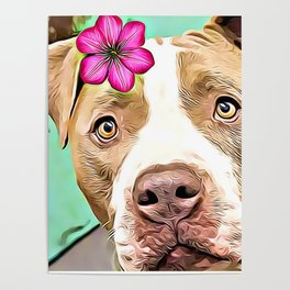 Pitbull with flower Poster