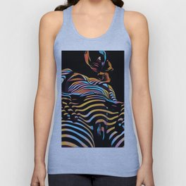 1731s-AK Striped Vulval Portrait Zebra Woman Power Pose by Chris Maher Unisex Tank Top