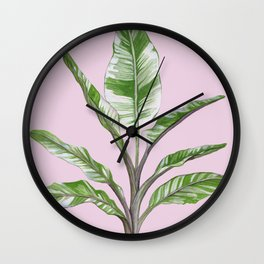 Green Leaves House Plant on Pink Wall Clock