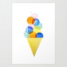 ice cream rainbow illustration Art Print