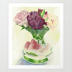 Peonies and Watermelon Art Print