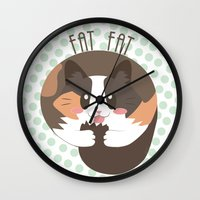 fat Wall Clocks featuring Fat Fat by Astrobunny