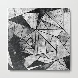 Modern Black and White Geometric Stone Metal Print
