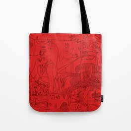 Picasso Line Art - Guernica (Red) Tote Bag