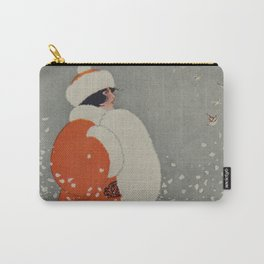 Vintage Christmas Lady in Blowing Snow (1914) Carry-All Pouch