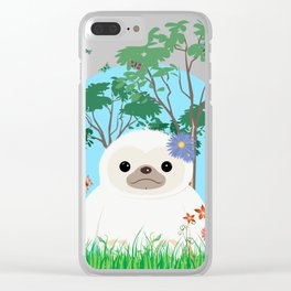 Super cute white two toed Sloth Clear iPhone Case