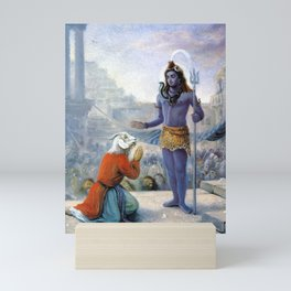 Daksa-approches-Lord-Siva-and-beggs-for-forgivness Mini Art Print