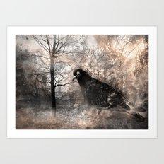 Black bird and the foggy path Art Print