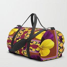MAROON QUATREFOIL PURPLE & YELLOW SPRING PANSIES Duffle Bag
