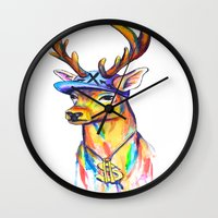 swag Wall Clocks featuring Swag Stag by Heather Hartley