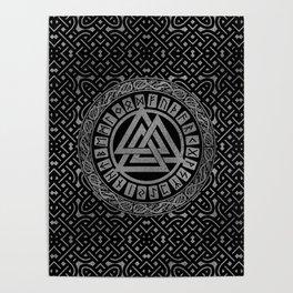Silver Metallic Valknut Symbol on Celtic Pattern Poster