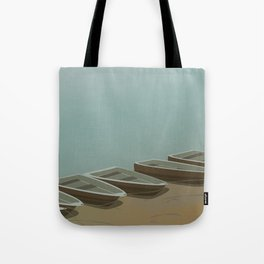 Boats on the shore Tote Bag