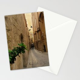 Medieval Narrow Street Tall Buildings And Coach Stationery Cards