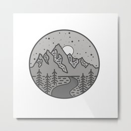 Grey Moonlight Metal Print