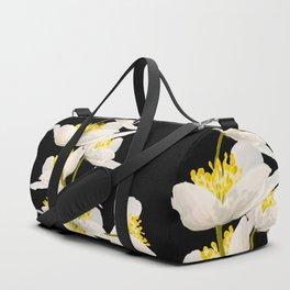 White Flowers On A Black Background #decor #buyart #society6 Duffle Bag